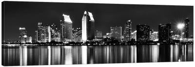 San Diego Panoramic Skyline Cityscape (Black & White - Night) Canvas Art Print