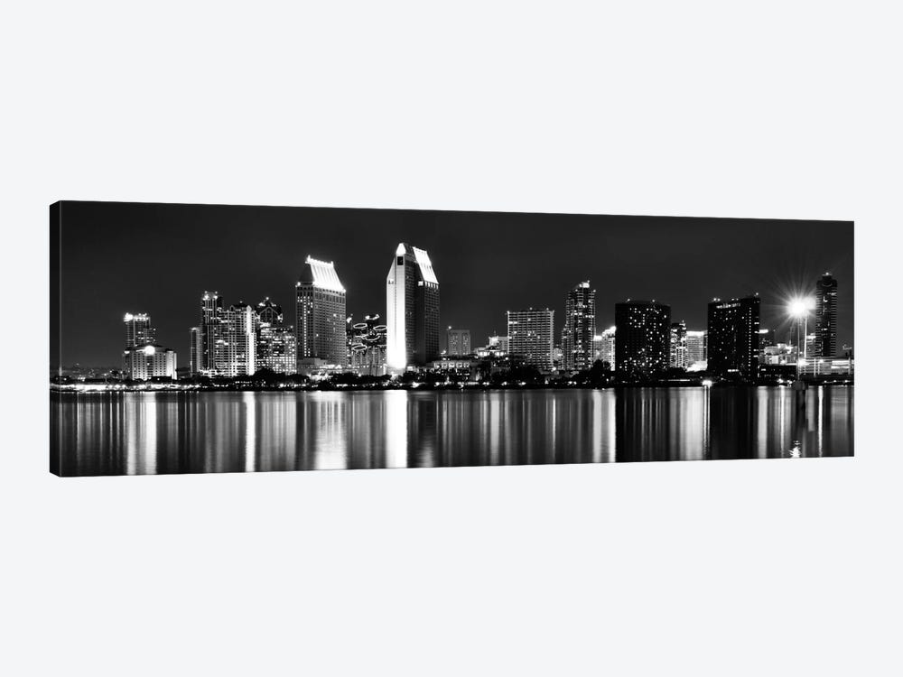 San Diego Panoramic Skyline Cityscape (Black & White - Night) 1-piece Art Print