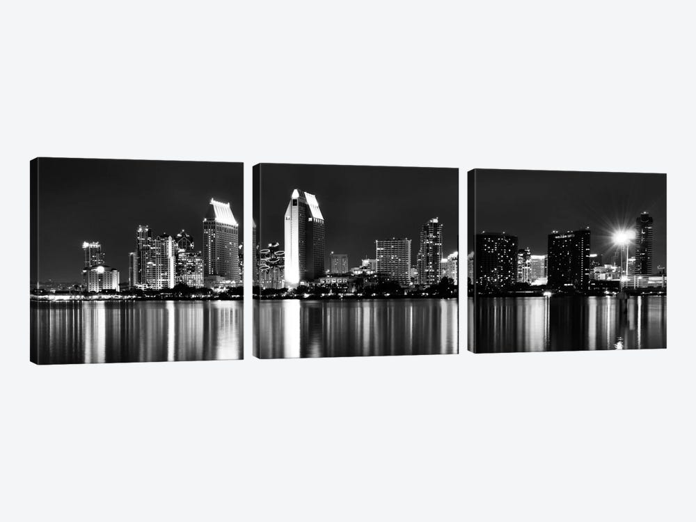San Diego Panoramic Skyline Cityscape (Black & White - Night) 3-piece Canvas Print