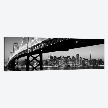 San Francisco Panoramic Skyline Cityscape (Black & White - Night) Canvas Print #6206} Canvas Artwork