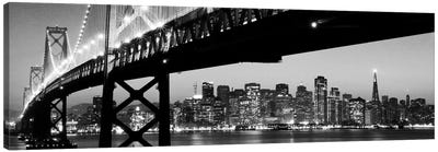 San Francisco Panoramic Skyline Cityscape (Black & White - Night) Canvas Print #6206