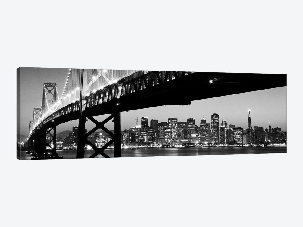 San Francisco Panoramic Skyline Cityscape (Black & White - Night) by Unknown Artist 1-piece Canvas Print