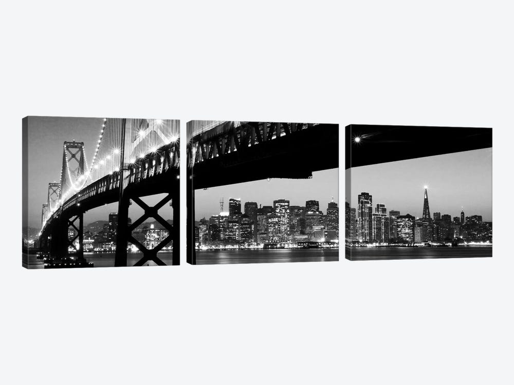 San Francisco Panoramic Skyline Cityscape (Black & White - Night) by Unknown Artist 3-piece Canvas Art Print