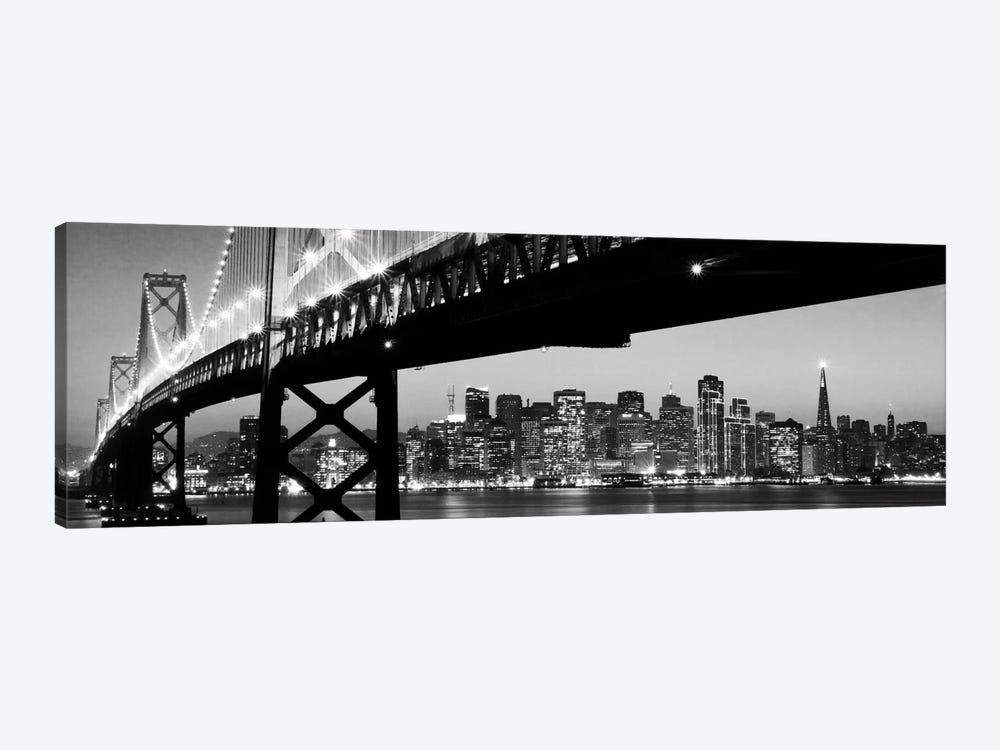 San Francisco Panoramic Skyline Cityscape (Black & White - Night) by Unknown Artist 1-piece Canvas Print