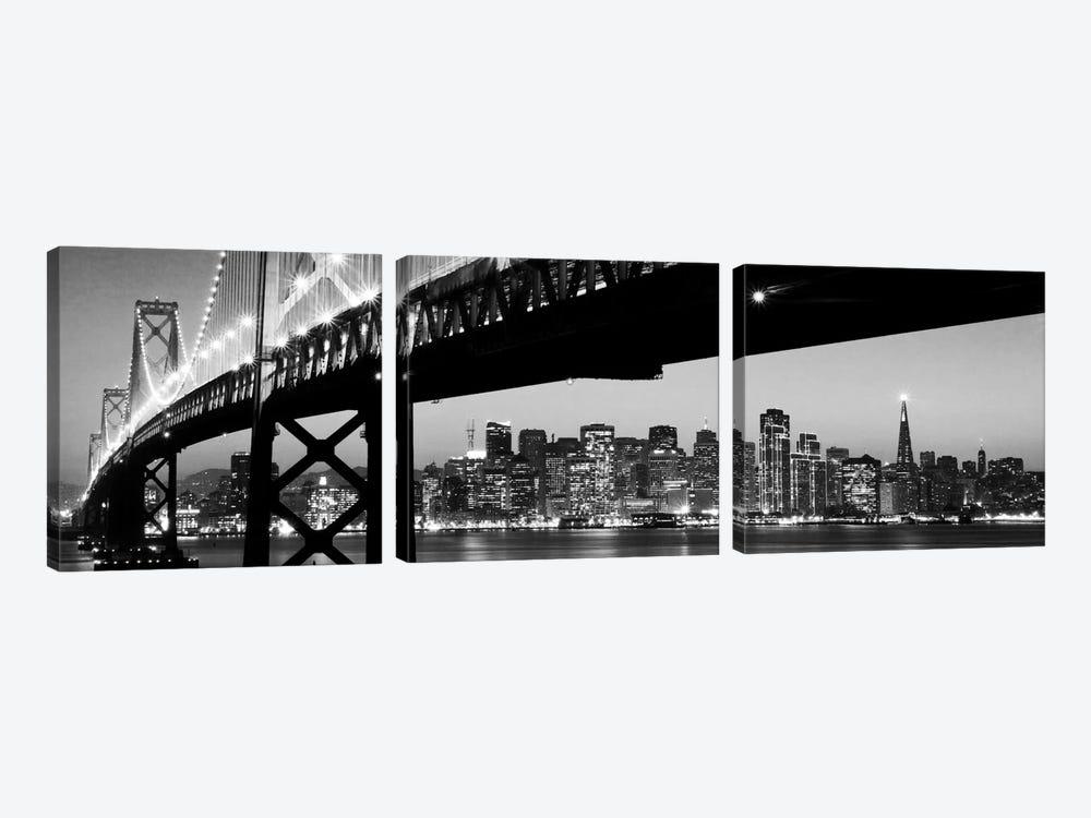 San Francisco Panoramic Skyline Cityscape (Black & White - Night) by Unknown Artist 3-piece Canvas Art Print