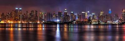 Modern rustic living room - New York Panoramic Skyline Cityscape Night Art Print