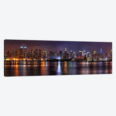 New York Panoramic Skyline Cityscape (Night) Canvas Print #6209} Art Print