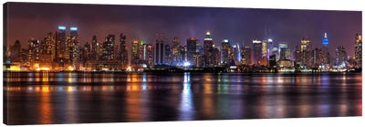 New York Panoramic Skyline Cityscape (Night) Canvas Art Print