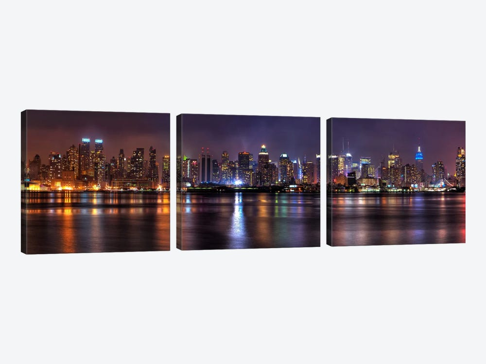 New York Panoramic Skyline Cityscape (Night) by Unknown Artist 3-piece Canvas Wall Art