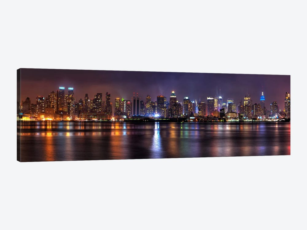 New York Panoramic Skyline Cityscape (Night) by Unknown Artist 1-piece Canvas Artwork