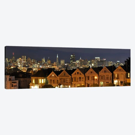 San Francisco Panoramic Skyline Cityscape (Night) Canvas Print #6210} Canvas Wall Art