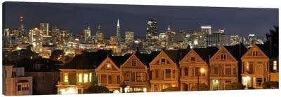 San Francisco Panoramic Skyline Cityscape (Night) Canvas Print #6210