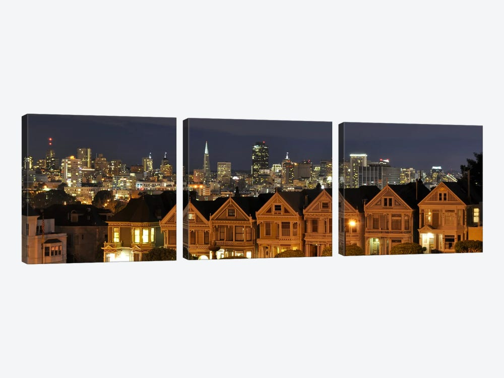 San Francisco Panoramic Skyline Cityscape (Night) 3-piece Canvas Art