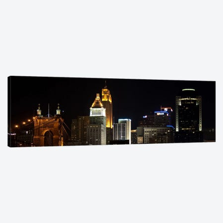 Cincinnati Panoramic Skyline Cityscape (Night) Canvas Print #6215} Canvas Art Print