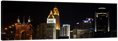 Cincinnati Panoramic Skyline Cityscape (Night) Canvas Art Print