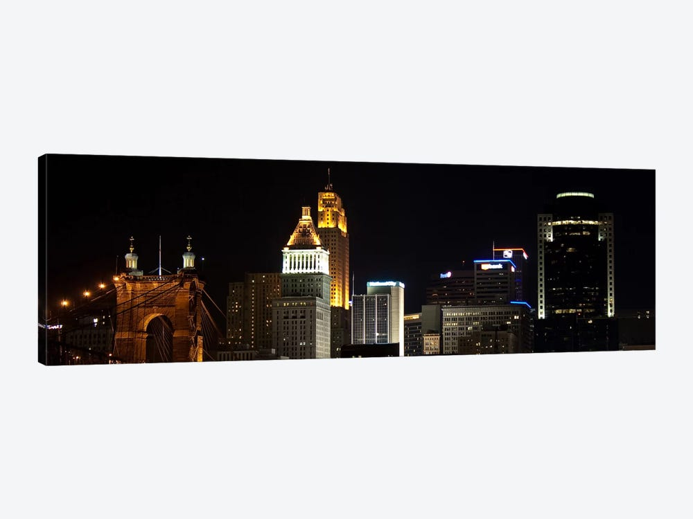 Cincinnati Panoramic Skyline Cityscape (Night) 1-piece Canvas Print