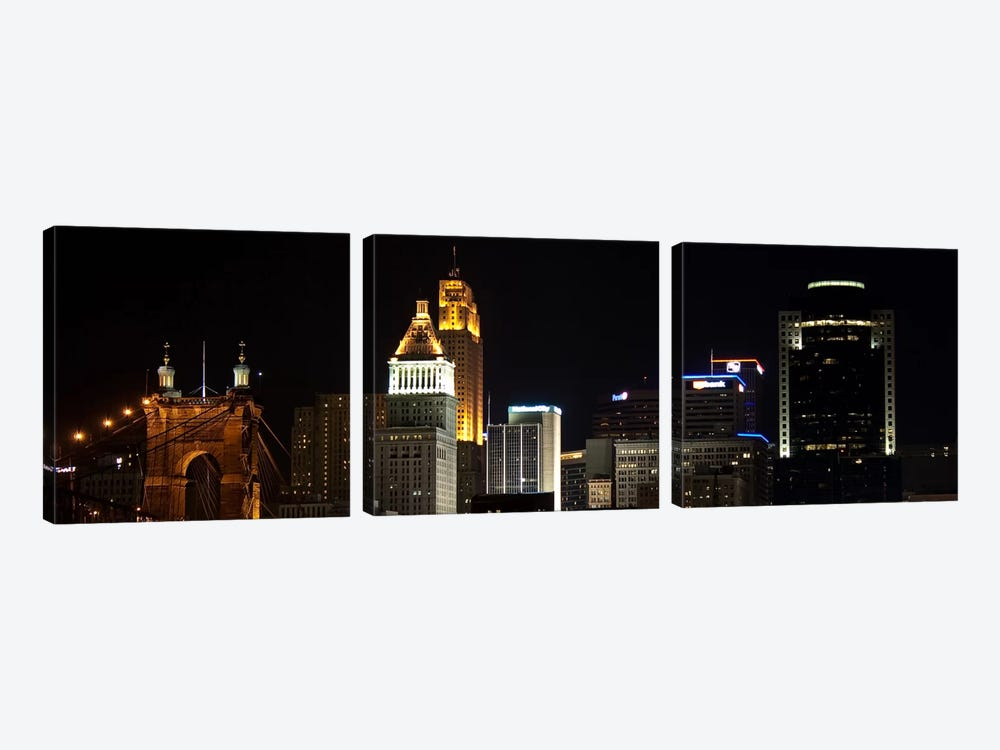 Cincinnati Panoramic Skyline Cityscape (Night) by Unknown Artist 3-piece Art Print