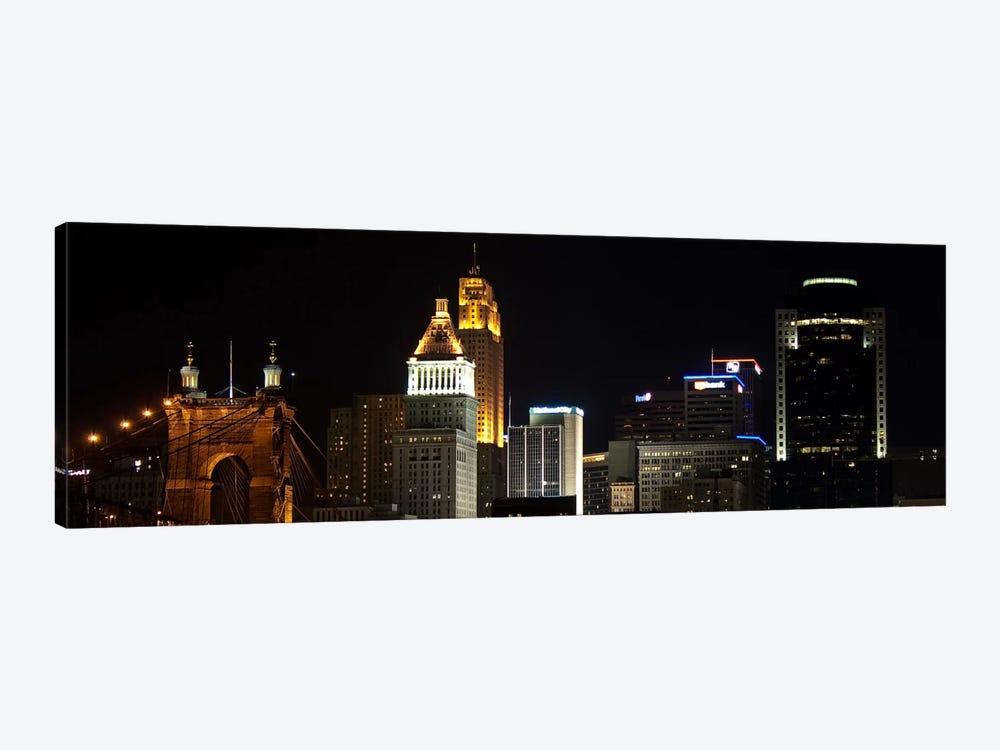 Cincinnati Panoramic Skyline Cityscape (Night) by Unknown Artist 1-piece Canvas Print