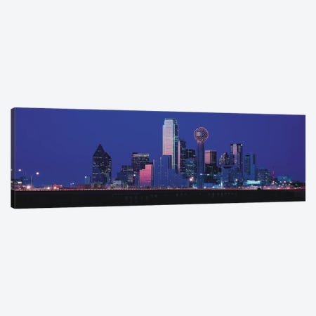 Dallas Panoramic Skyline Cityscape (Night) Canvas Print #6218} Canvas Wall Art