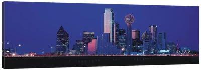 Dallas Panoramic Skyline Cityscape (Night) Canvas Print #6218