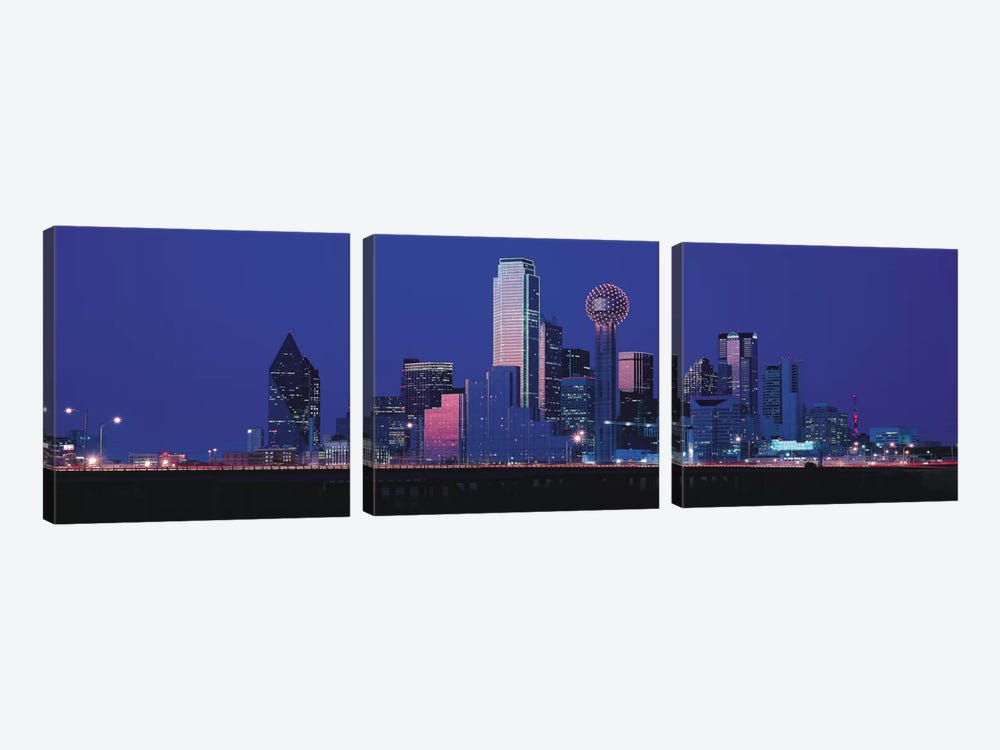 Dallas Panoramic Skyline Cityscape (Night) by Unknown Artist 3-piece Canvas Artwork