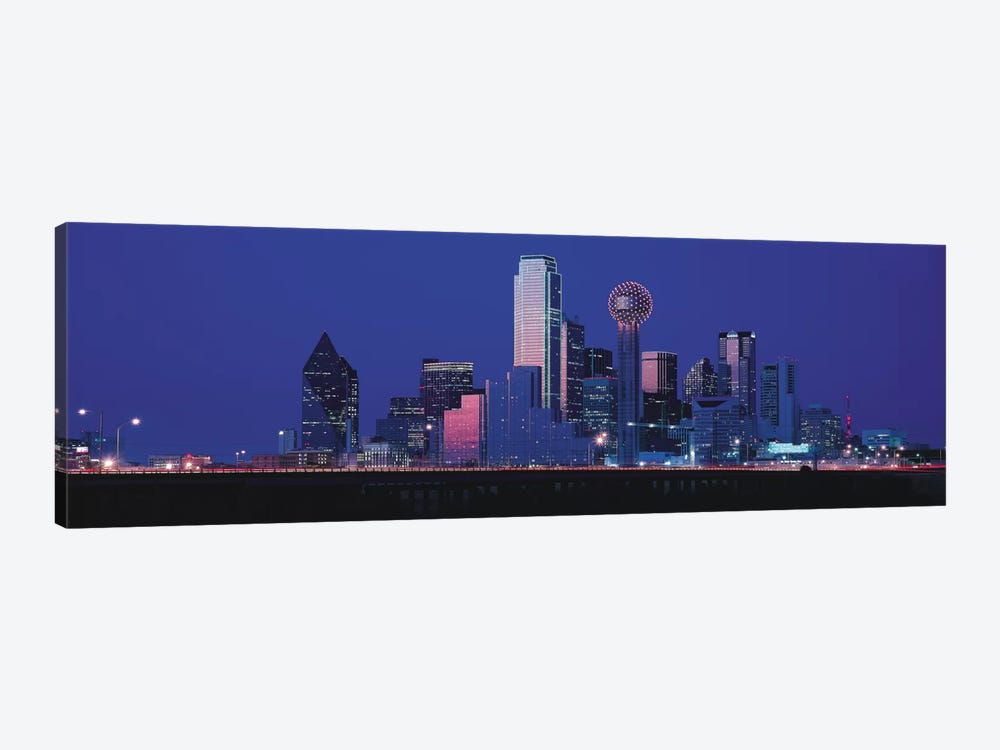 Dallas Panoramic Skyline Cityscape (Night) by Unknown Artist 1-piece Canvas Art