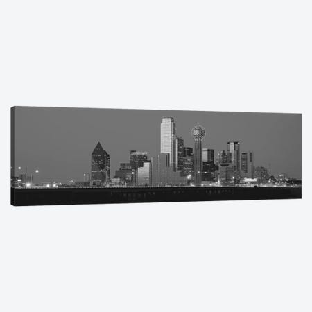 Dallas Panoramic Skyline Cityscape (Black & White - Night) Canvas Print #6220} Canvas Print