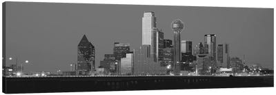 Dallas Panoramic Skyline Cityscape (Black & White - Night) Canvas Print #6220