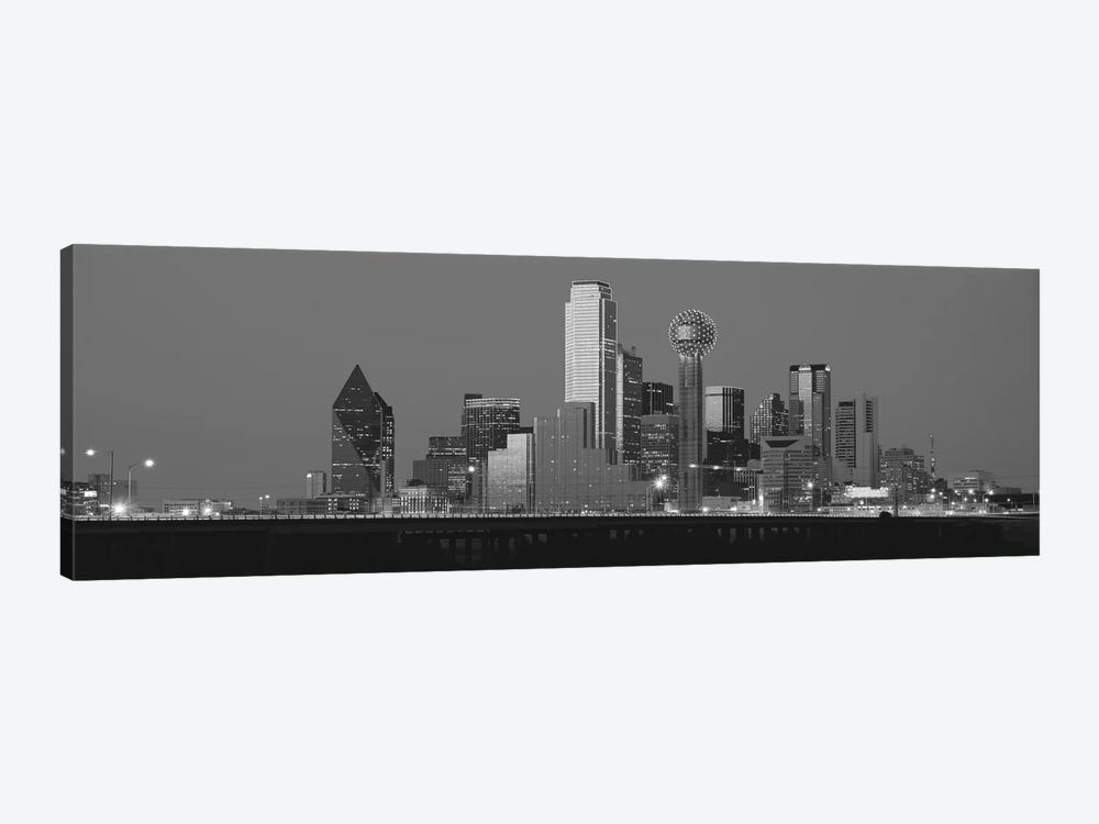 Dallas Panoramic Skyline Cityscape (Black & White - Night) 1-piece Canvas Print