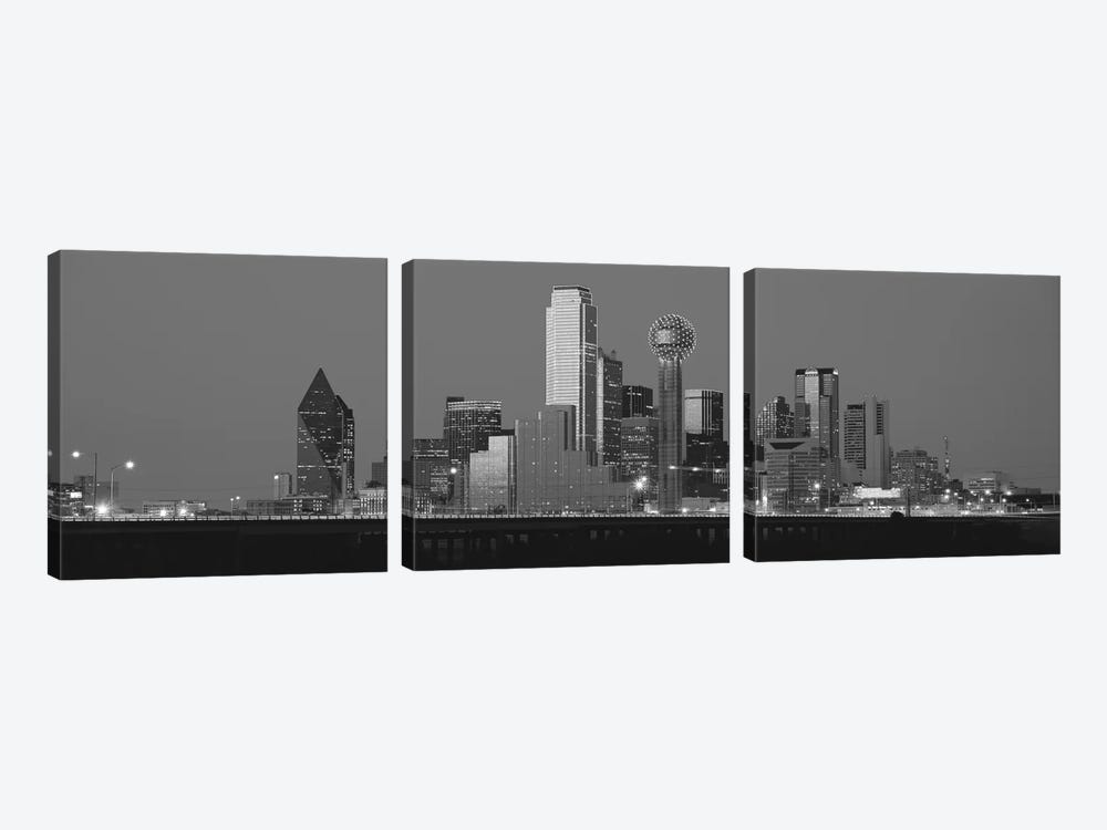 Dallas Panoramic Skyline Cityscape (Black & White - Night) 3-piece Canvas Art Print