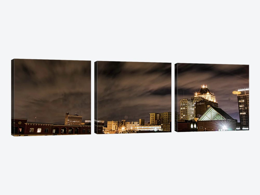 Greensboro Panoramic Skyline Cityscape (Night) 3-piece Art Print