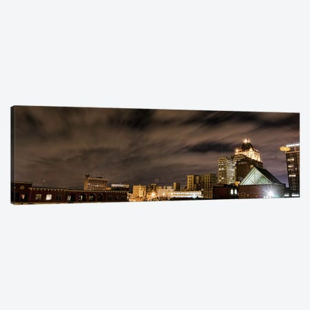 Greensboro Panoramic Skyline Cityscape (Night) 3-Piece Canvas #6222} by Unknown Artist Art Print