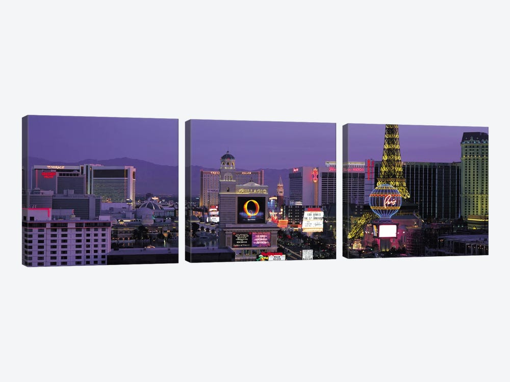 Las Vegas Panoramic Skyline Cityscape (Night) by Unknown Artist 3-piece Canvas Art