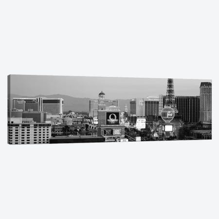 Las Vegas Panoramic Skyline Cityscape (Black & White - Night) Canvas Print #6226} Canvas Artwork