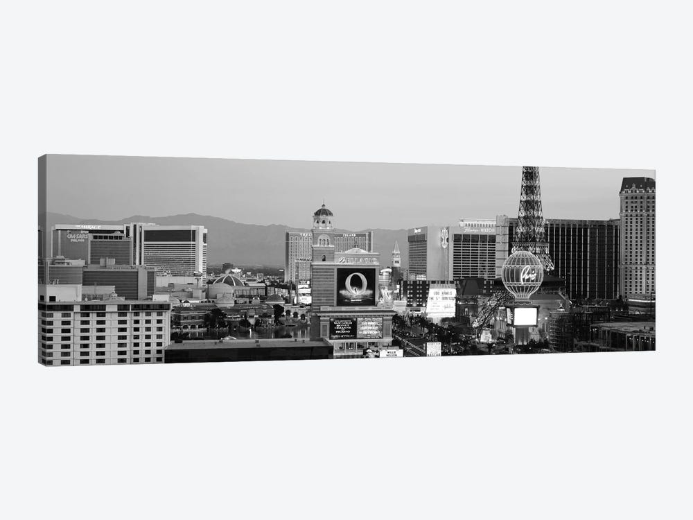 Las Vegas Panoramic Skyline Cityscape (Black & White - Night) 1-piece Art Print