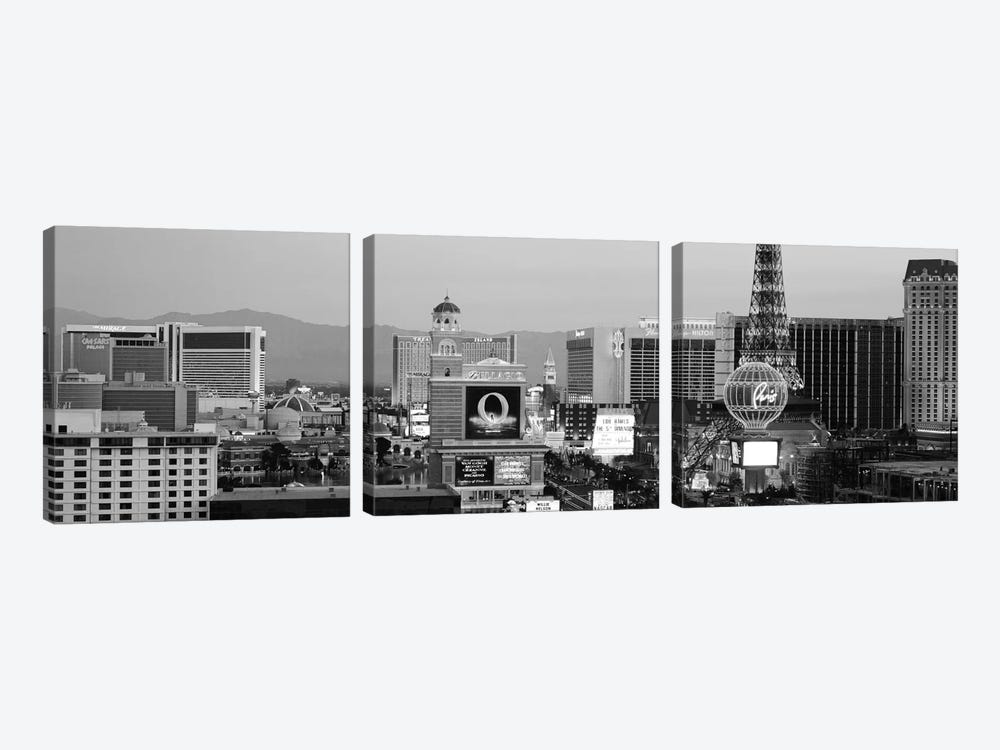 Las Vegas Panoramic Skyline Cityscape (Black & White - Night) by Unknown Artist 3-piece Canvas Print