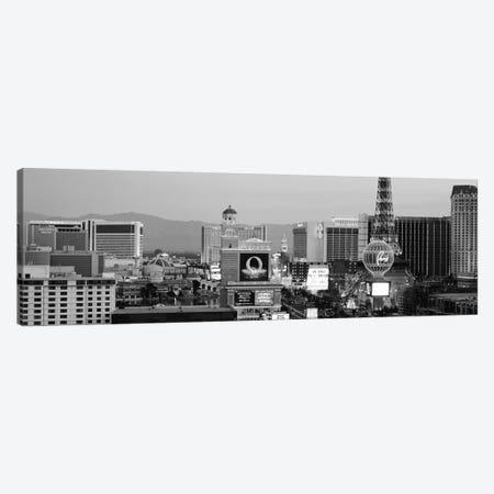 Las Vegas Panoramic Skyline Cityscape (Black & White - Night) Canvas Print #6226} by Unknown Artist Canvas Artwork
