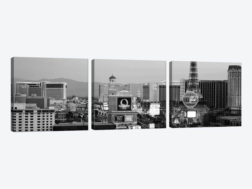 Las Vegas Panoramic Skyline Cityscape (Black & White - Night) by Unknown Artist 3-piece Canvas Print