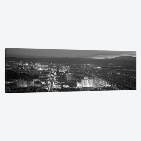 Las Vegas Panoramic Skyline Cityscape (Black & White - Night) Canvas Print #6227} Canvas Art