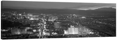 Las Vegas Panoramic Skyline Cityscape (Black & White - Night) Canvas Print #6227