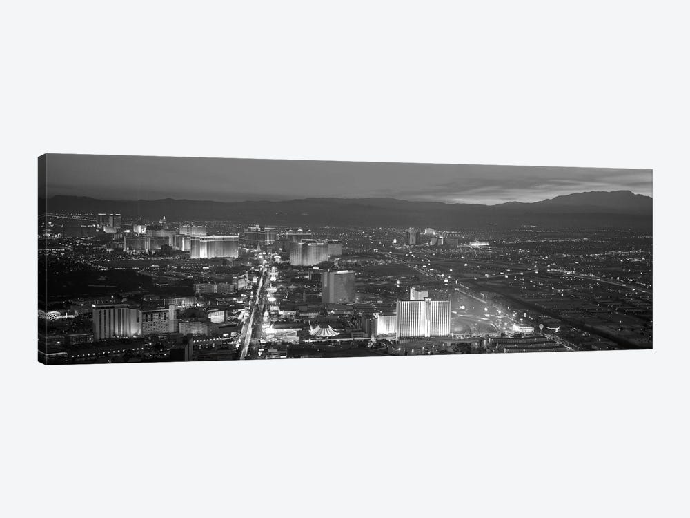 Las Vegas Panoramic Skyline Cityscape (Black & White - Night) 1-piece Canvas Wall Art