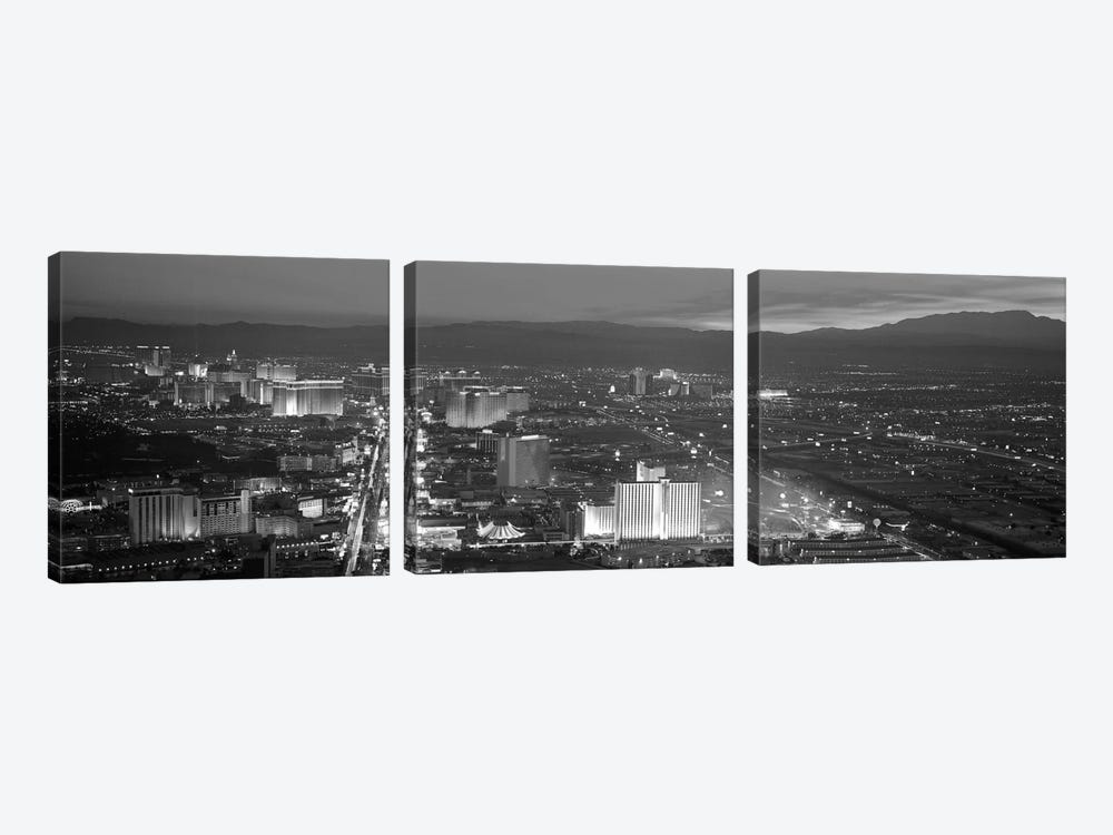 Las Vegas Panoramic Skyline Cityscape (Black & White - Night) 3-piece Canvas Art