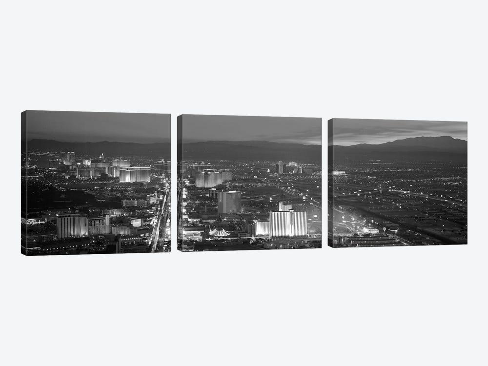 Las Vegas Panoramic Skyline Cityscape (Black & White - Night) by Unknown Artist 3-piece Canvas Art