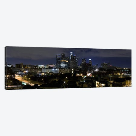 Los Angeles Panoramic Skyline Cityscape (Night) Canvas Print #6228} Canvas Art Print