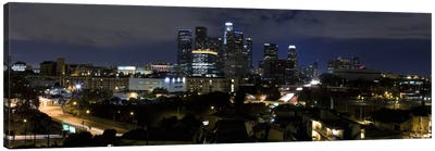 Los Angeles Panoramic Skyline Cityscape (Night) Canvas Print #6228