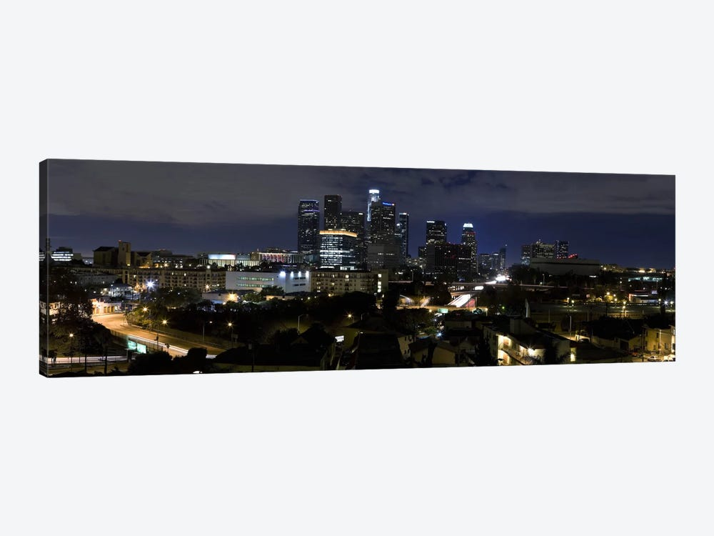 Los Angeles Panoramic Skyline Cityscape (Night) by Unknown Artist 1-piece Canvas Print