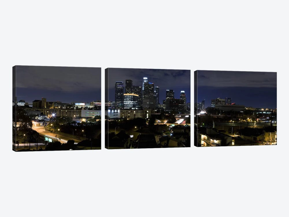 Los Angeles Panoramic Skyline Cityscape (Night) by Unknown Artist 3-piece Art Print
