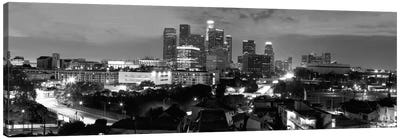 Los Angeles Panoramic Skyline Cityscape (Black & White - Night) Canvas Print #6229