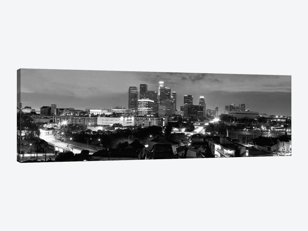 Los Angeles Panoramic Skyline Cityscape (Black & White - Night) 1-piece Canvas Wall Art