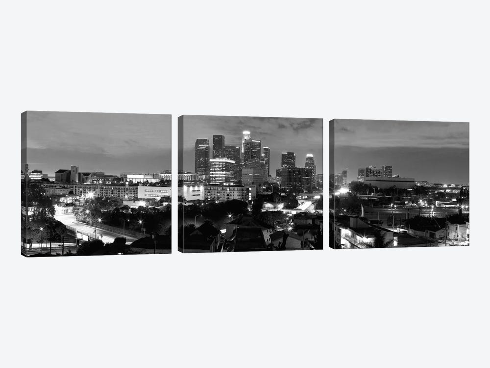 Los Angeles Panoramic Skyline Cityscape (Black & White - Night) 3-piece Canvas Wall Art